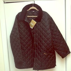 Mens Black Quilted Barbour Jacker XXL